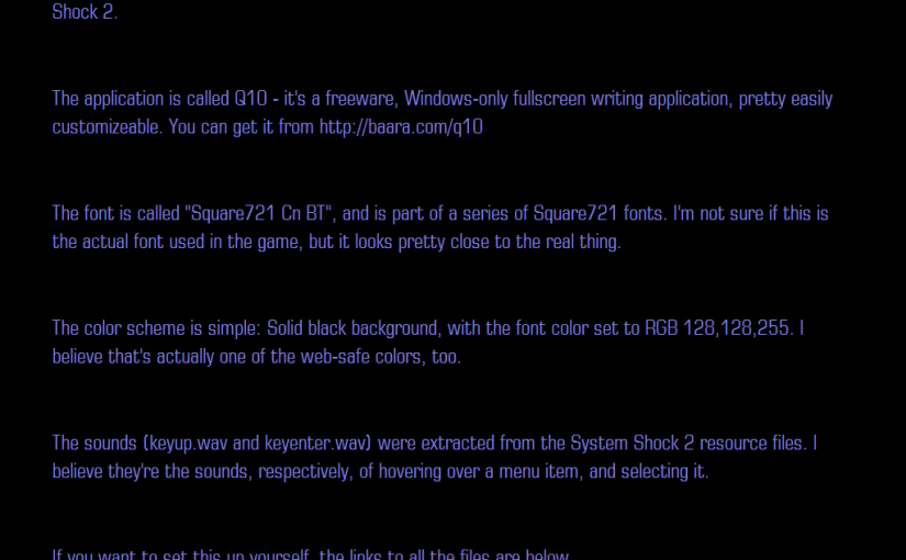 System Shock 2 theme for Q10